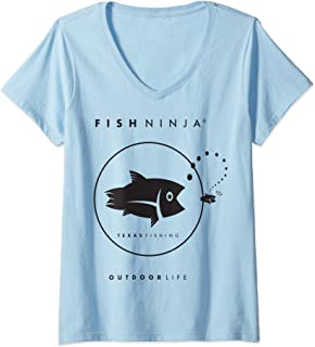 Womens Fish Ninja Cool Fishing Shirt V-Neck T-Shirt