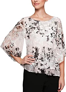 Alex Evenings Women's Chiffon Blouse Petite and Regular