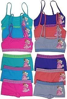 ToBeInStyle Girl's Pack of 6 Set of Spaghetti Strap Bras and Boyshorts Bikinis