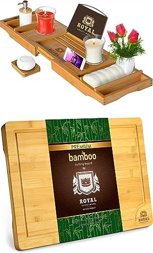 """discount Luxury new arrival Bathtub Caddy Tray and Cutting Board popular XL (18"""" x 12"""") by Royal Craft Wood sale"""