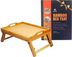 KEEKR Bed Tray for Eating - Portable Food Table for Serving Breakfast in Bed - Adjustable Height Lets It Fit Over The Lap of Any Adult - Carrying Handles, Secure Locking Legs, 100% Made of Bamboo