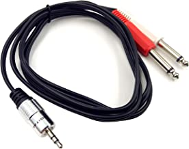 3.5 to 2 X 6.35, Haokiang 6Feet/1.8M 3.5MM to 6.35mm Y Splitter Cable, Aluminum Shell 3.5mm 1/8
