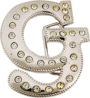 Initial Letter Cursive G Bling Chrome Silver Finished Belt Buckle.