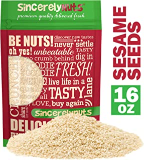 Sincerely Nuts Hulled Sesame Seeds (1Lb Bag) | A Heart Healthy Snack Rich in Fiber, Minerals & Antioxidants | Source of Plant Based Protein | Gluten Free & Kosher