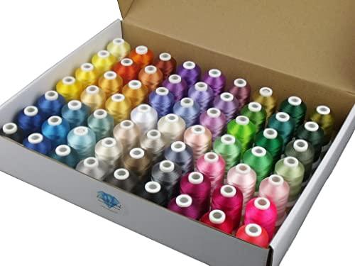 Simthread 63 Brother Colors Polyester Embroidery Machine Thread Kit 40 Weight for Brother Babylock Janome Singer Pfaf...
