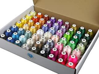 Simthread 63 Brother Colors Polyester Embroidery Machine Thread Kit 40 Weight for Brother Babylock Janome Singer Pfaff Hus...