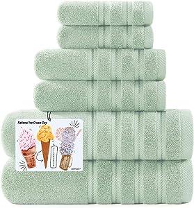 2021 New Luxury Fluffy Bathroom Towels Set 6 Piece Towel Set for Bathroom & Kitchen, 2 Bath Towels, 2 Hand Towels & 2 Washcloths [Worth $79.95] Light Green