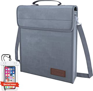 Fireproof Document Bag Safe & Large - Protects Your Valuables Files Jewelry Cash and Passport - Non-Itchy Silicone Coated Strong Zipper & Lock - Special Bonus - Waterproof Case Phone(Fireproof Bag)