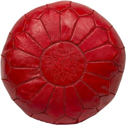 Moroccan Poufs 皮革豪华软垫脚凳红色未填充