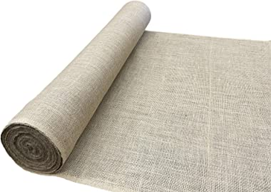 """AK TRADING CO. 60"""" Premium 10oz Burlap Roll-50 Yards-No-Fray Finished Edges-Natural Tight Weave Fabric"""