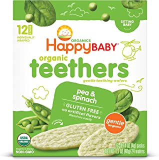 Happy Baby, Baby Food Teether pea Spinach Organic 12 Count, 1.7 Ounce