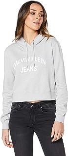 Calvin Klein Jeans Women's Institutional Curved Logo Crop Hoodie, Light Grey Heather, S