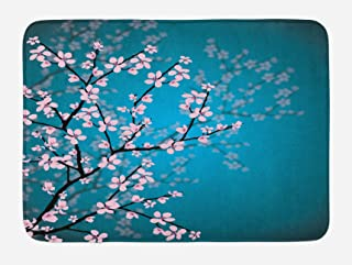 Ambesonne Teal Bath Mat, Pink Blossoms Art Leaves and Plants Ombre Spring Japanese Sakura Flowers in Garden Park, Plush Bathroom Decor Mat with Non Slip Backing, 29.5
