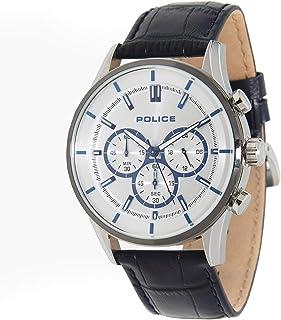 بوليس ساعة رسمية انالوج بعقارب للـرجال ، جلد - P 15001JSTU-04