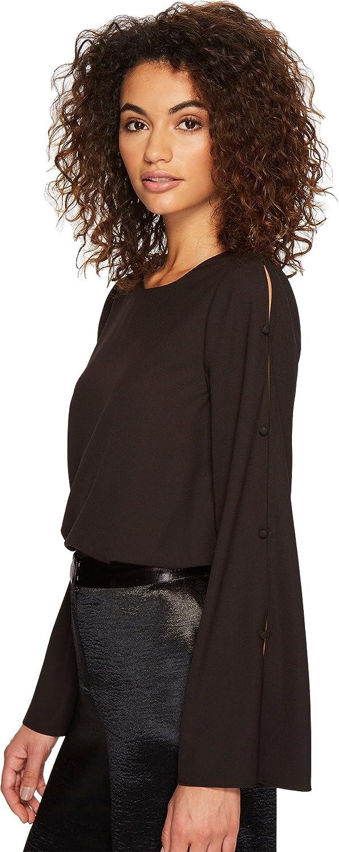 kensie Women's Dainty Crepe Top with Open Slit Sleeves Black