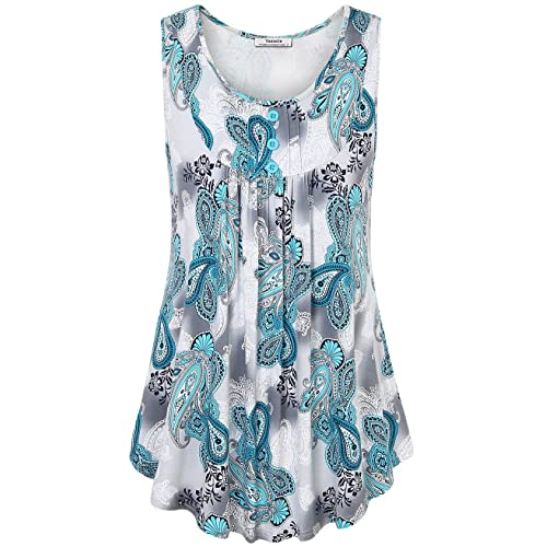 Tank Top for Women Plus Size,Womens Sleeveless Swing Tunic Summer Floral Flare Scoop Neck Flowy Loose Fit Racerback Tank Top