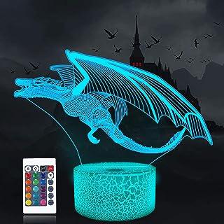 Luz de noche de dragón, lámpara de ilusión 3D, 16 colores cambian con control remoto, decoración del dormitorio de los niños como regalos de cumpleaños navideños para niño y niña