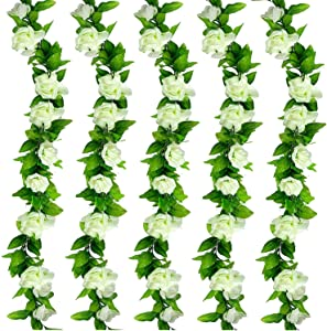5 Pack White Artificial Flower Vines for Indoor & Outdoor Decoration Fake Roses Floral Garland Decor for Wedding Arch/Birthday Party/Event Background Wall (37.5 Feet)