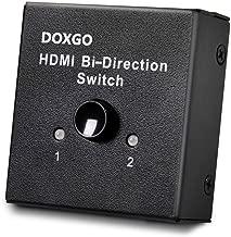 Doxgo HDMI Switch Hub Box Ultra HD 4K, 2x1 or 1x2 Bi-Directional Switcher with HDCP Passthrough, 1080P HDTV 3D