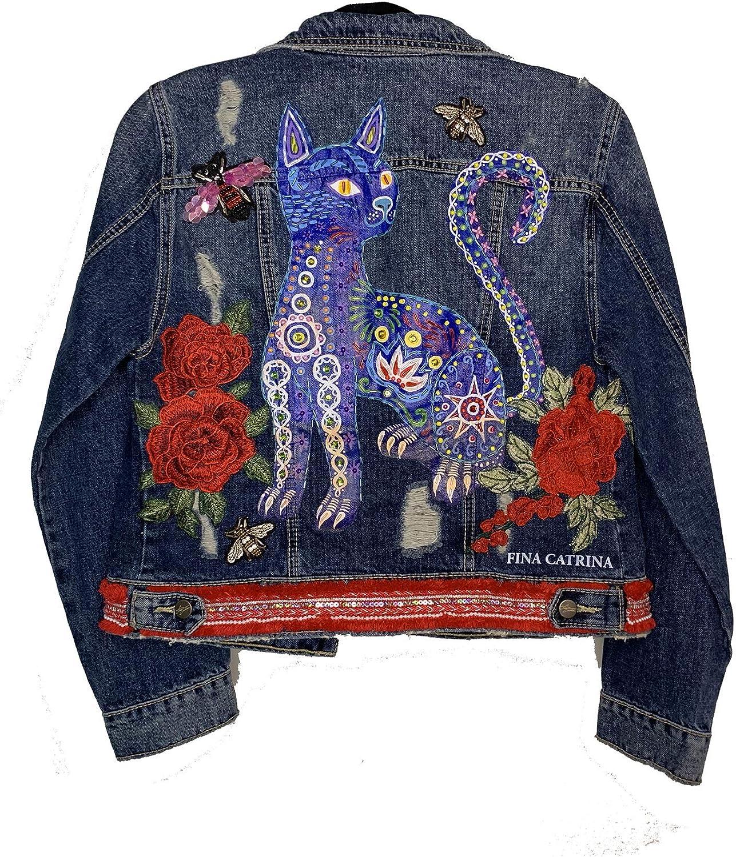 Women's Hand Painted Denim Jacket CAT ALEBRIJE