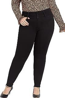 Plus Size Flying MonkeyTM high Rise Black Triple Button Skinny Jean
