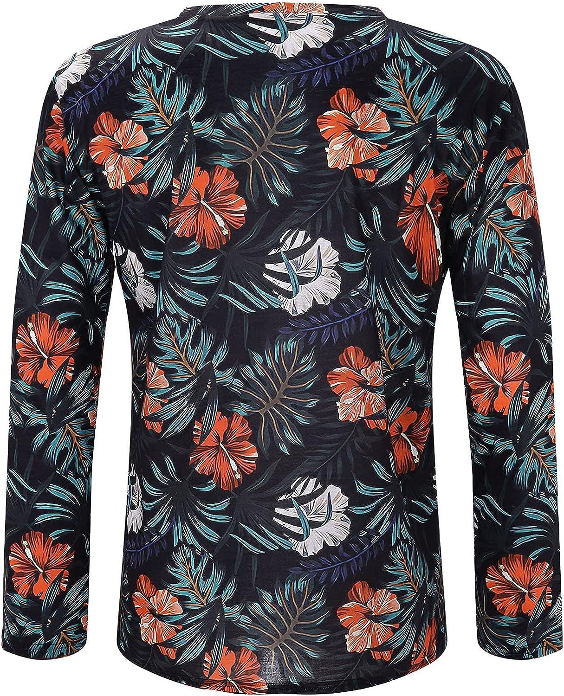 Xiloccer Men's Henley Long Sleeve Shirts & Tops Tee Shirt for Men Crewneck Sweatshirt Mens Long Sleeve Compression Shirt