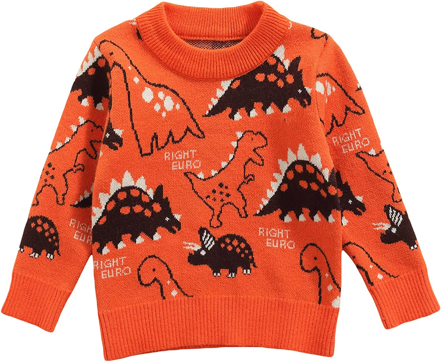 Toddlers Boys Casual Fall Sweater Knitwear Kids Round Collar Dinosaur Letters Printed Pattern Knitted Pullover Top