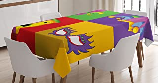 Ambesonne Mardi Gras Tablecloth, Colorful Frames with Mardi Gras Masks Harlequin Hat and Fleur De Lis Print, Dining Room Kitchen Rectangular Table Cover, 60
