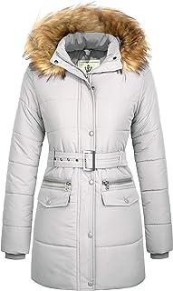 WenVen Women's Winter Waterproof Thickened Puffer Jacket with Fur Hood