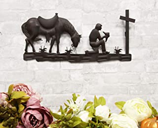 """Ebros Gift 21""""Wide Wild West Kneeling Cowboy With Horse In Solemn Prayer By The Cross Metal Aluminum Wall 3D Art Sign Plaq..."""