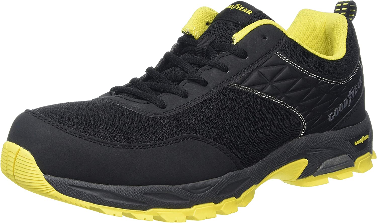 Goodyear Workwear GYSHU1532 Mens Lightweight Work Safety Sporty Athletic Trainer Non Metallic Composite Toe Cap & Midsole S1P SRA HRO, Black, UK 11 EU 45