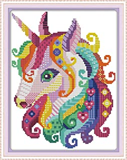 Cross Stitch Stamped Kits Pre-Printed Cross-Stitching Starter Patterns for Beginner Kids or Adults, Embroidery Needlepoint Kits Unicorn in Garden