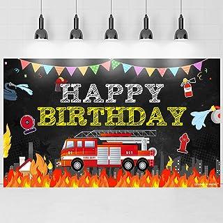 Brick Wall Children Bday Poster Deocration ;1400058 Fire Truck Fire Man Kids Birthday Banner
