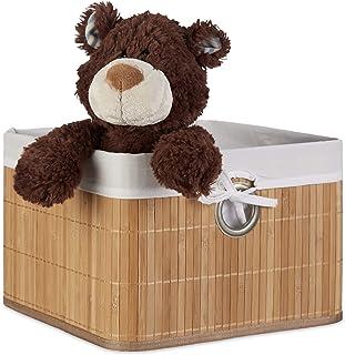 Relaxdays Corbeille Panier de rangement Housse amovible poignée Boîte de stockage étagère armoire H x l x P 20 x 31 x 31 c...