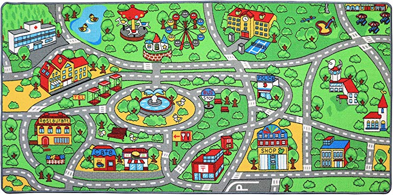 Click N Play City Life Kids Road Traffic Play Mat Rug Extra Large Non Slip Carpet Fun Educational For Play Area Playroom Bedroom Extra Large 79 X 40