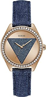 Guess W0884L7 Strass Bezel Triangle-Detail Dial Denim Band Round Analog Genuine Leather Watch for Women - Blue