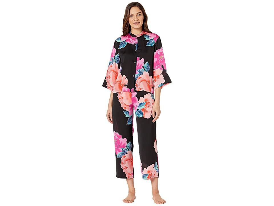 N by Natori Printed Silky Satin PJ Set (Black/Pink) Women