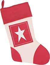 Boxed Star Canvas Christmas Stocking by Clever Creations | Beautiful Star Applique Design | Soft Woven Material | Festive ...