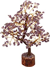 FASHIONZAADI Amethyst Natural Stone Feng Shui Bonsai Money Tree for Chakra Balancing Good Luck EMF Protection Healing Table Décor Health Prosperity Size 10-12 inch (Golden Wire)