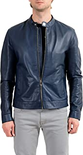 Versace Collection Men's 100% Leather Blue Full Zip Jacket Size US 2XL IT 56