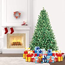 SHareconn 6.5ft Pre-Lit Premium Artificial Spruce Hinged Christmas Tree with 350 Clear Lights, 1300 Branch Tips and Metal Stand