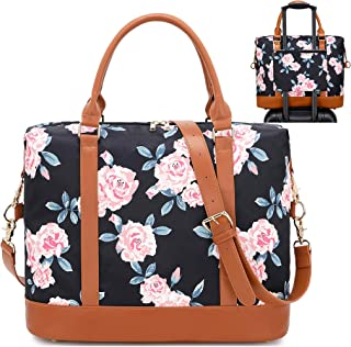 BLUBOON Women Weekender Bag Overnight Duffel Bag Travel Luggage Tote with Shoulder Strap (0041-Black Rose)