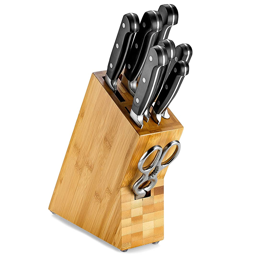Bamboo Knife Storage Block – Universal Kitchen Knife Organizer with 8 Slots Knives Holder. For complete and convenient storage.