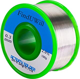 (0.3mm 0.22lbs) Lead Free Solder Wire Flux-core Solder Welding Wire Sn99 Ag0.3 Cu0.7 with Rosin Core for Electrical Soldering 100 g (Small)