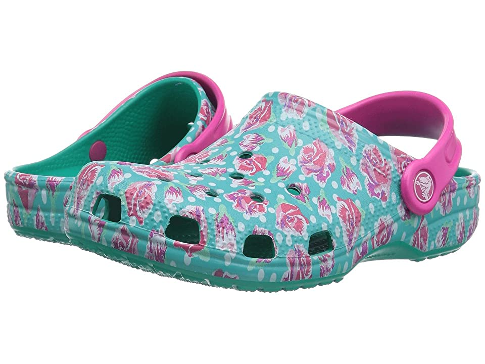 Crocs Kids Classic Graphic Clog (Toddler/Little Kid) (Tropical Teal) Kids Shoes