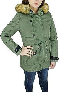 944bb1413fe8e3 Evoga Parka Donna Invernale Verde Casual Giacca Cappotto con Pelliccia  Interna