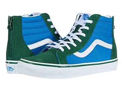 Vans Kids SK8-Hi Zip (Big Kid) ((Two-Tone) Mediterranian Blue/Greener Pastures) Boys Shoes