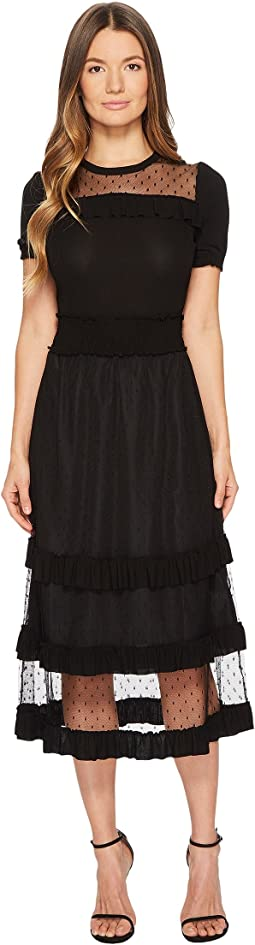 RED VALENTINO - Jeryse Dress with Point D'Esprit