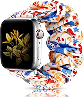 LBYZCAS Scrunchie Elastic Band Compatible for Apple Watch 38MM 40MM,Cute and Soft Cloth Elastic Wristband Replacement Strap Compatible for iWatch Series 5/4/3/2/1 for Girls Womens