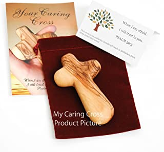 One Olive Wood Holding Cross comes with Velvet Bag & Certificate
